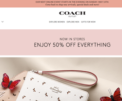 coach outlet coupon code 5g3p  Coach Outlet website view