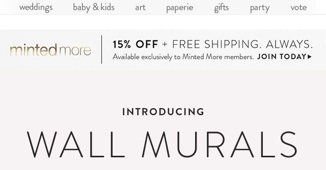 On all Minted products, all year round + a limited edition gift box filled with Minted design deligh...