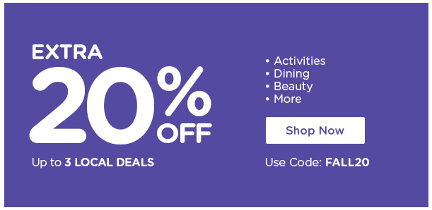 Extra 20% off up to 3 local deals