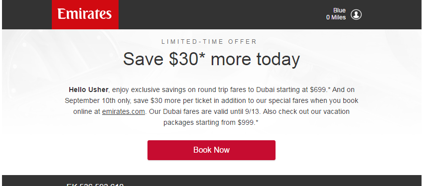 $30 off or more today emirates offer