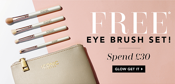 Free Eye Brush Set with four brushes and Bag when you spend £30 or more. Limited time only and whil...