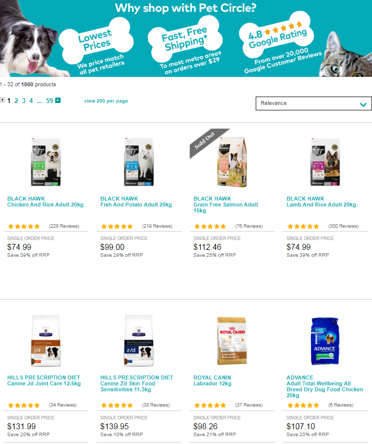Lowest prices match all pet retailers.