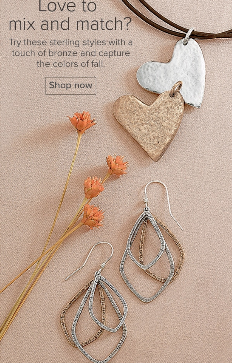 Try these sterling styles with a touch of bronze and capture the colors of fall.