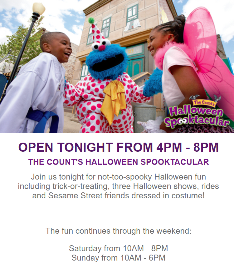 Come in costume and enjoy three special Halloween-themed shows, soar, swing, fly and cruise on three...
