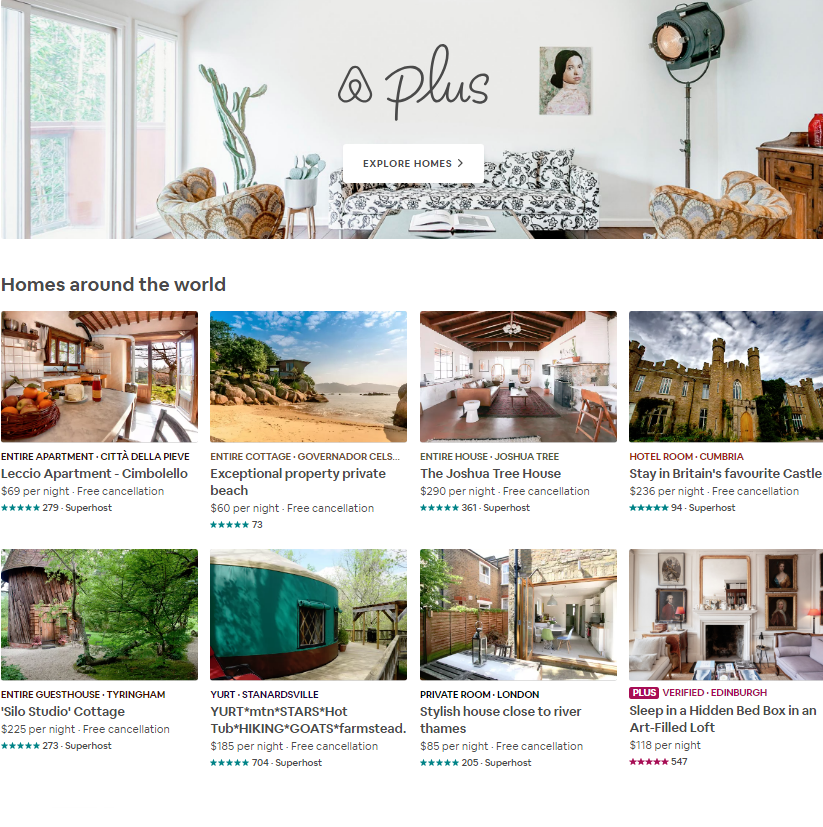 Featured Airbnb Plus destinations - Browse beautiful homes with all the comforts of home, plus mor...