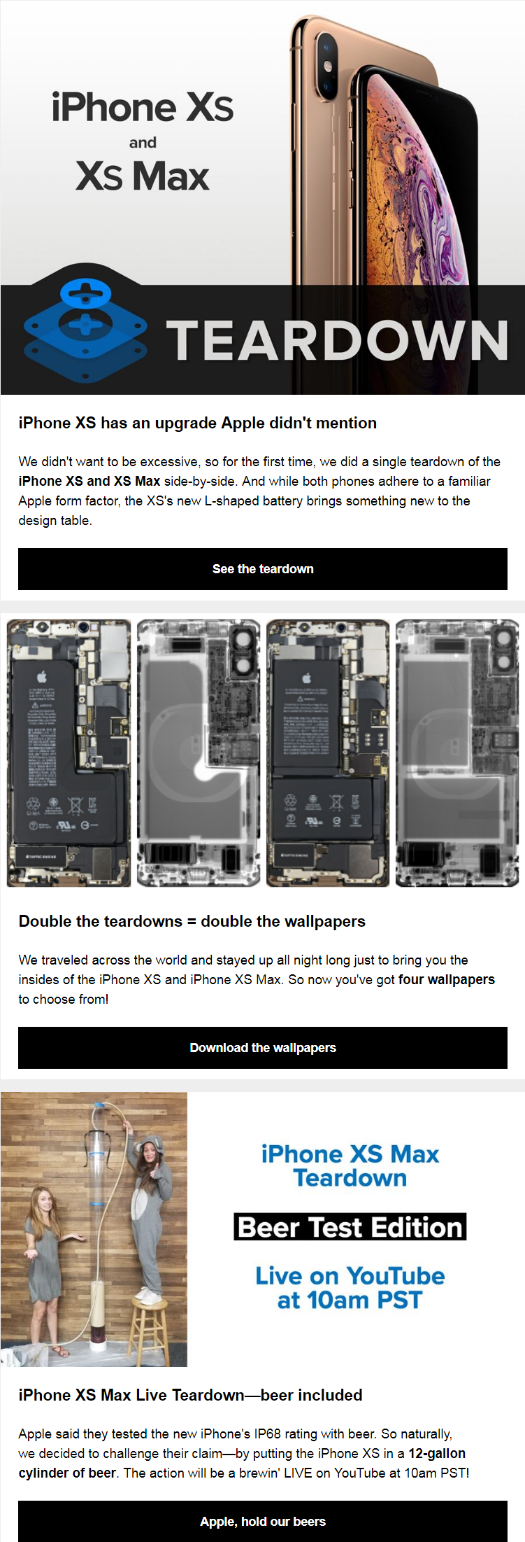 iFixit did a single teardown of the iPhone XS and XS Max side-by-side. And while both phones adhere ...