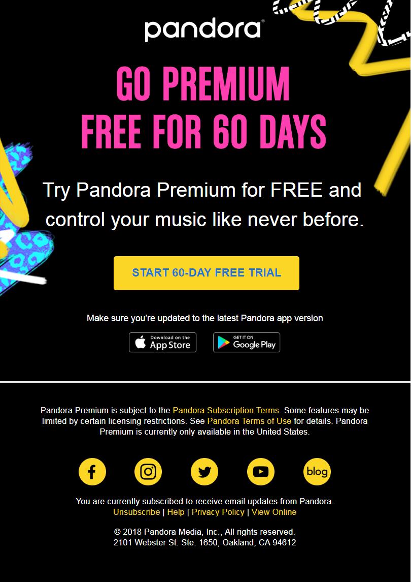 pandora music business promo code