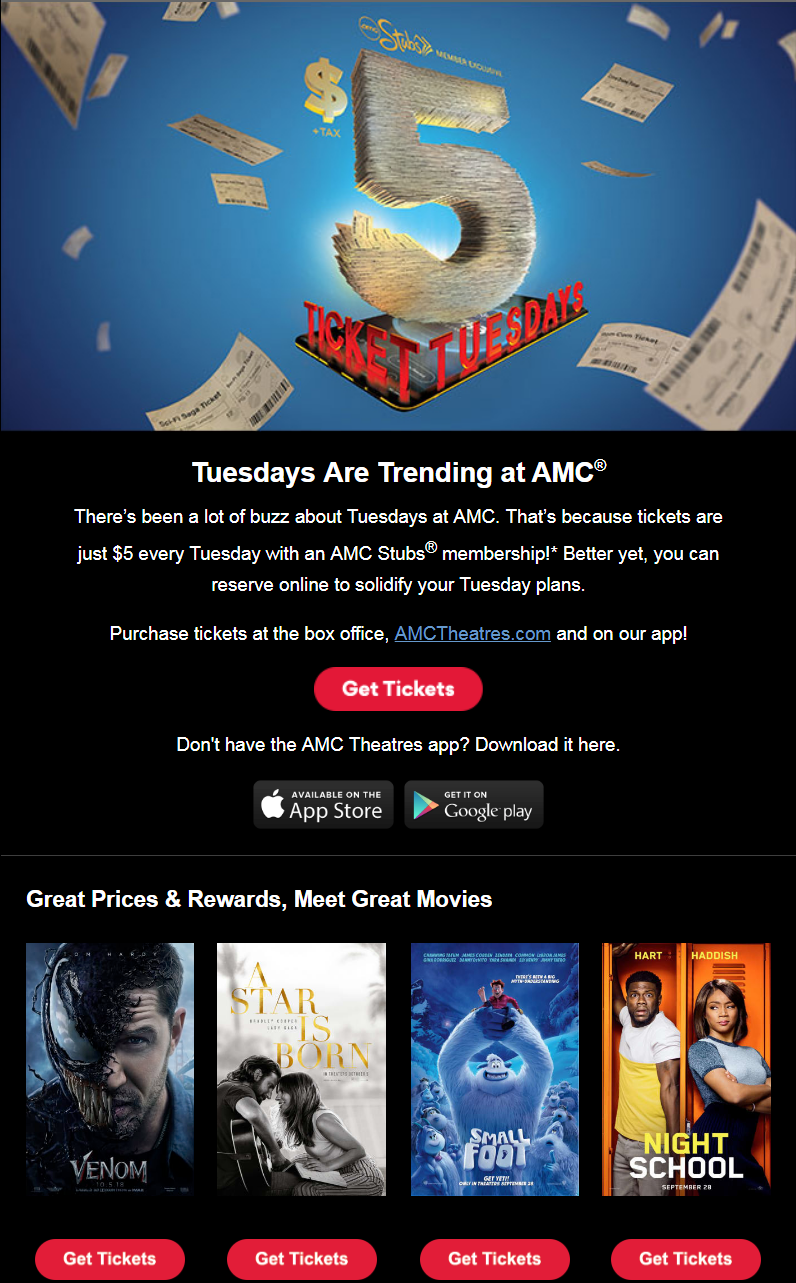 There's been a lot of buzz about Tuesdays at AMC. That's because tickets are just $5 every Tuesd...