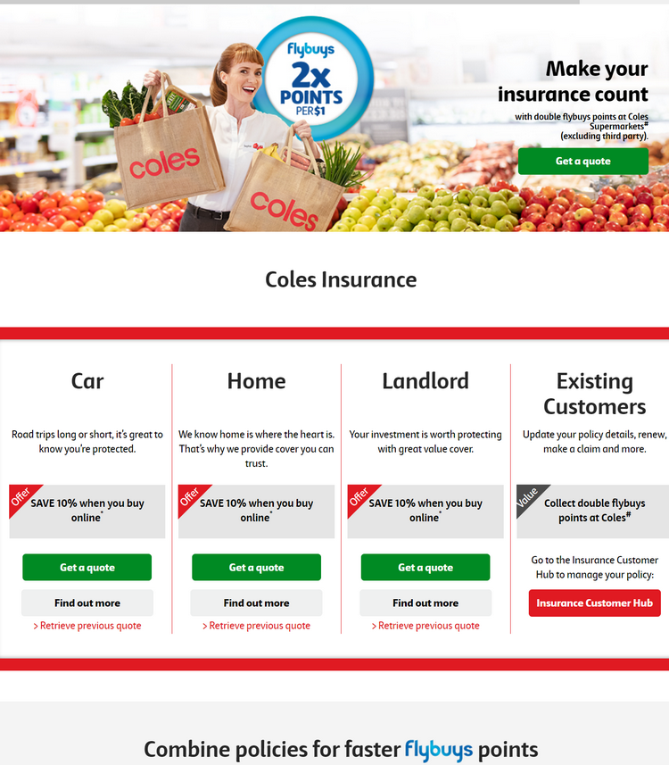Online discount is calculated on and applied to your Coles Insurance premium before the application ...