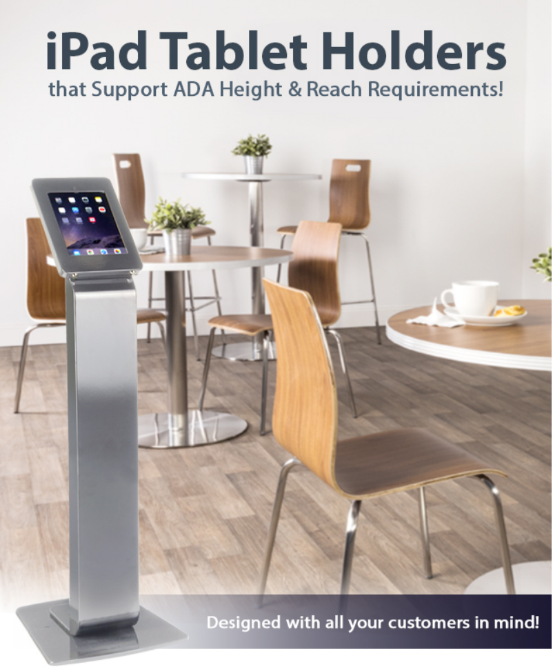 iPad tablet holders for ADA compliance are excellent for displaying digital catalogs, electronic men...