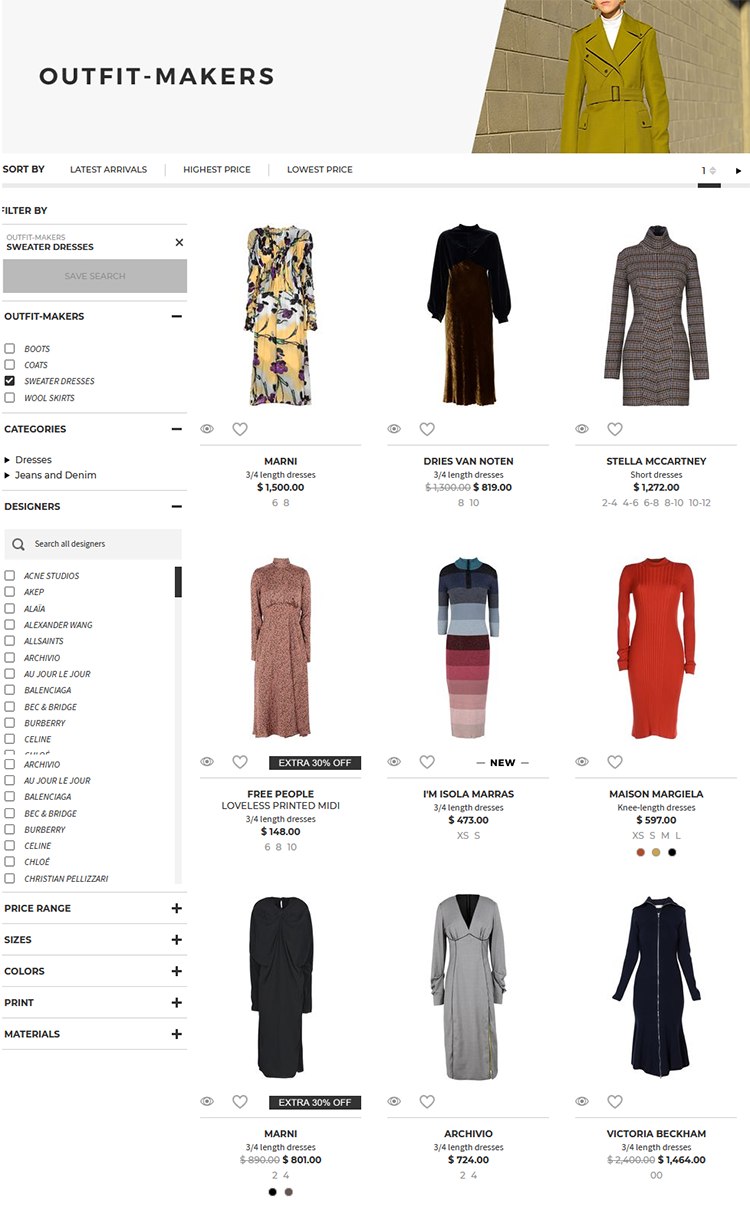 Choose from MARNI 3/4 length dress $ 1,500.00; DRIES VAN NOTEN 3/4 length dress $ 819.00 and more