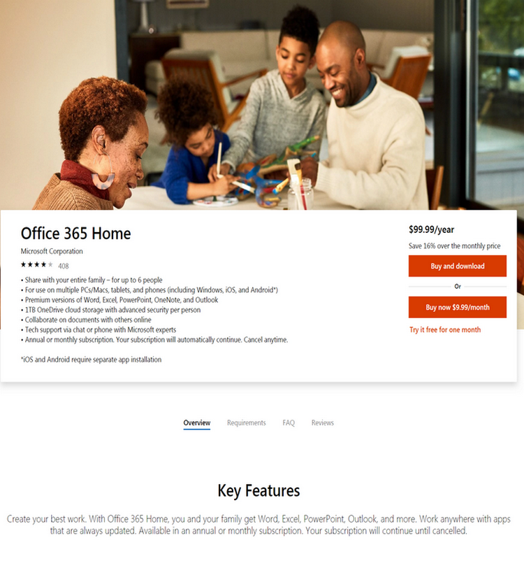 Create your best work. With Office 365 Home, you and your family get Word, Excel, PowerPoint, Outloo...