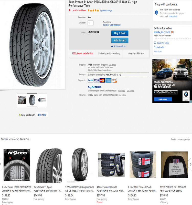 The Toyo Proxes T1 Sport is a high performance summer tire manufactured for passenger vehicles.