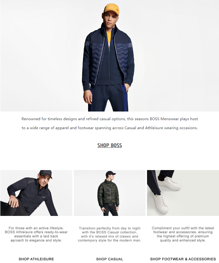 Renowned for timeless designs and refined casual options, this seasons BOSS menswear plays host to a...