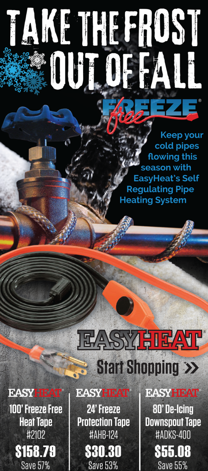 Keep your cold pipes flowing this season with EasyHeat's self regulating pipe heating system.