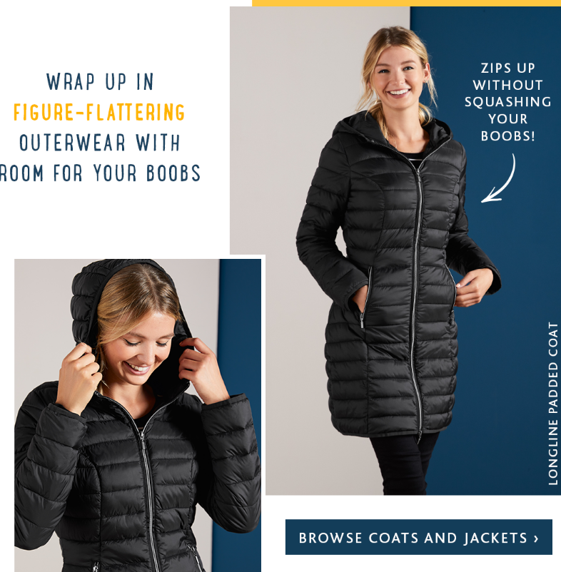 Figure-flattering jackets and coats designed with your boobs in mind! From staple denim and biker ja...