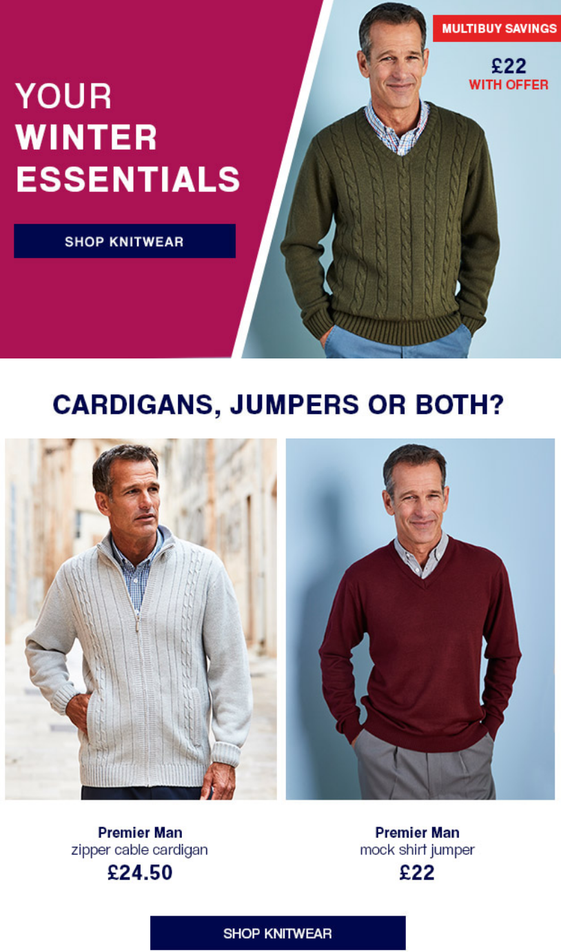 From large men's jumpers to cardigans and much more, the range of men's knitwear is perfect for any ...