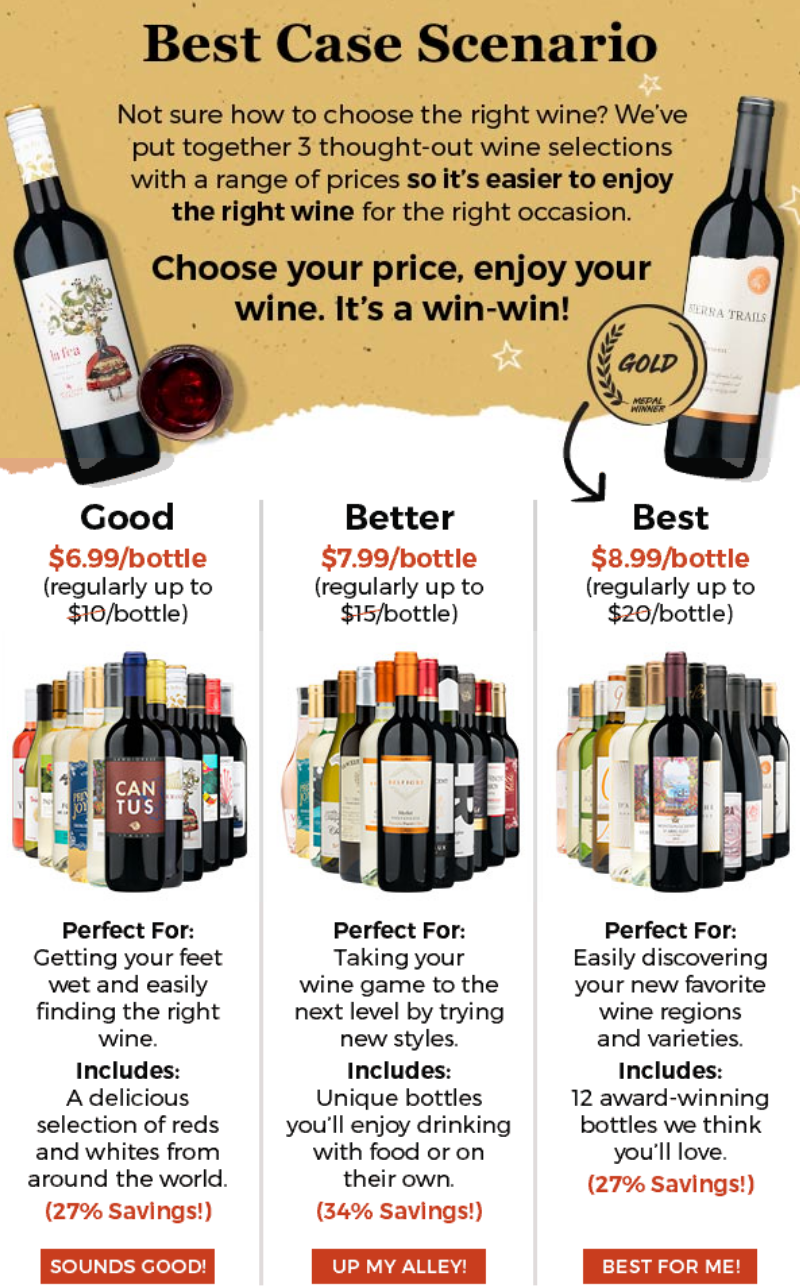 The in-house wine experts put together 3 different wine selections based on different price points t...