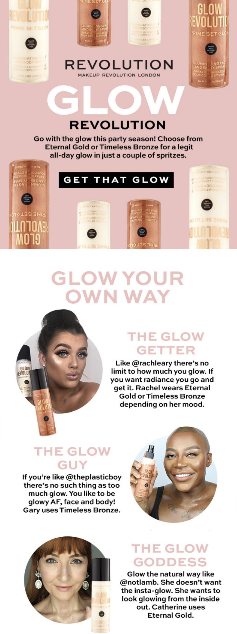 Go with the glow this party season with Revolution Illuminating face and body spray. The perfect mul...