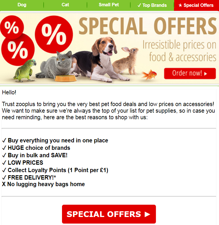 Save money on everything you need for your pet right here at zooplus. Whether free gifts with your p...