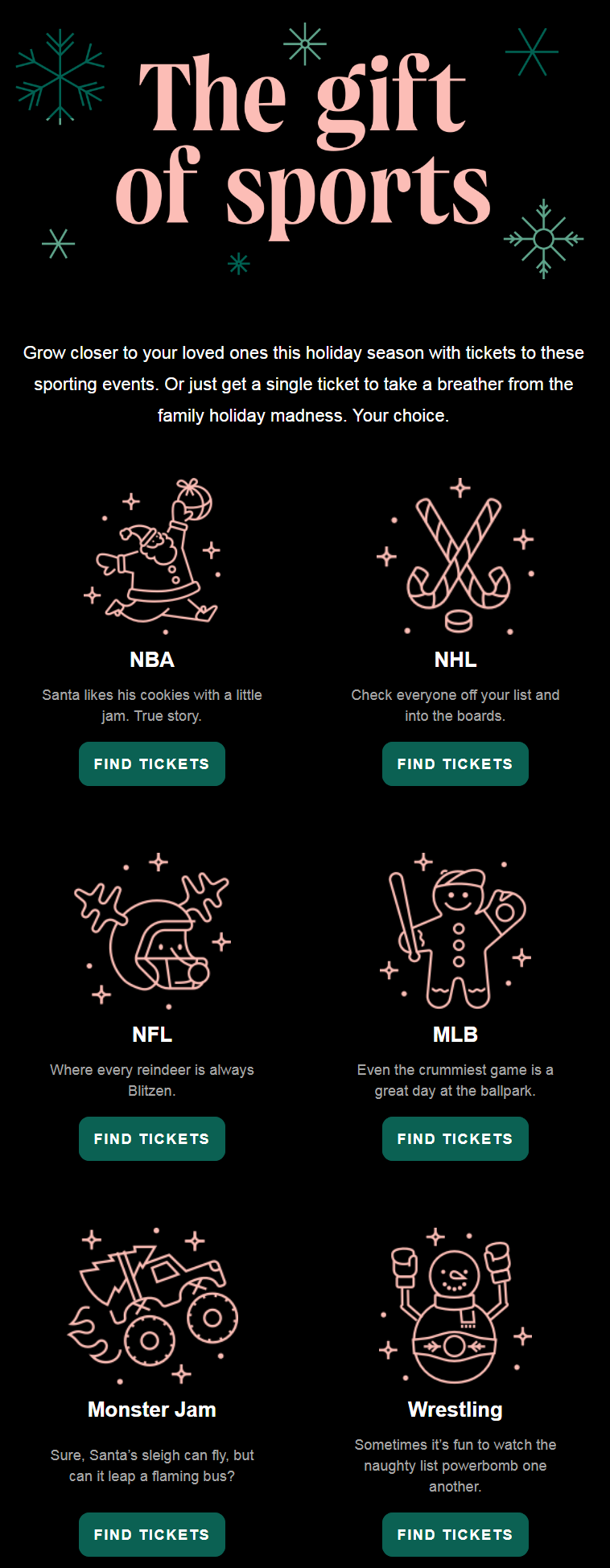 Grow closer to your loved ones this holiday season with tickets to these sporting events. Or just ge...