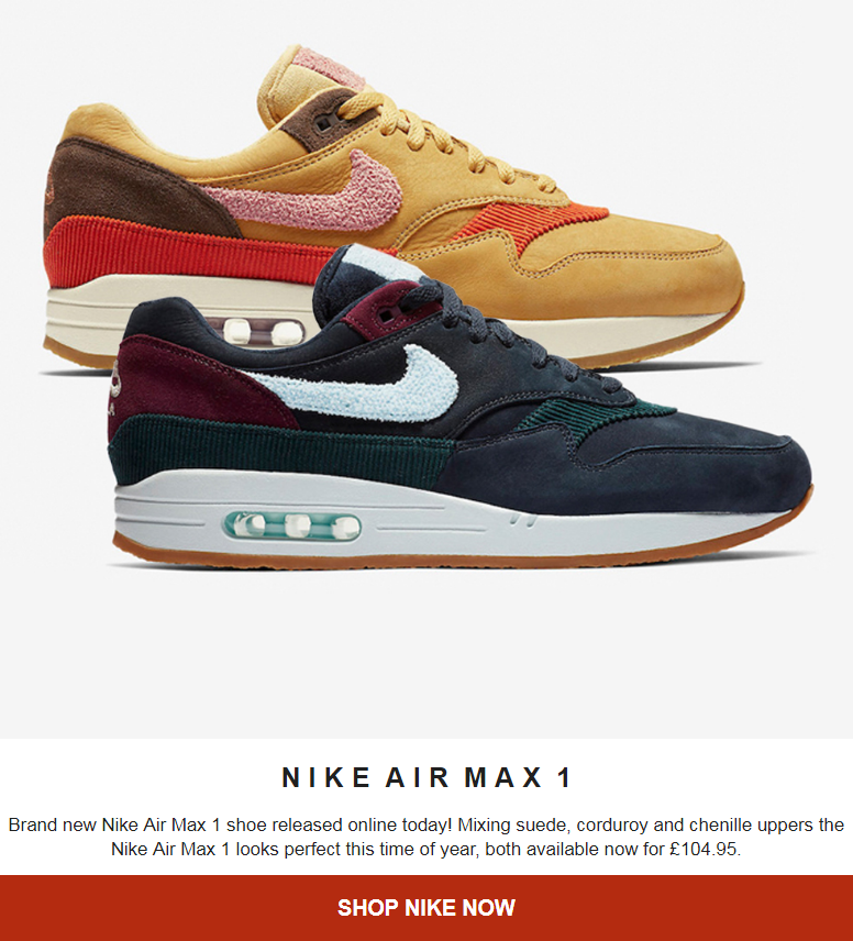 Brand new Nike Air Max 1 shoe released online today! Mixing suede, corduroy and chenille uppers the ...