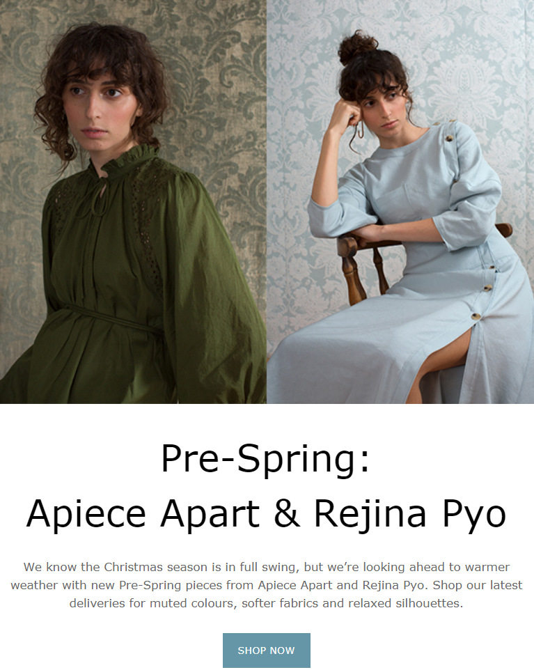 Looking ahead to warmer weather with new Pre-Spring pieces from Apiece Apart and Rejina Pyo. Shop th...