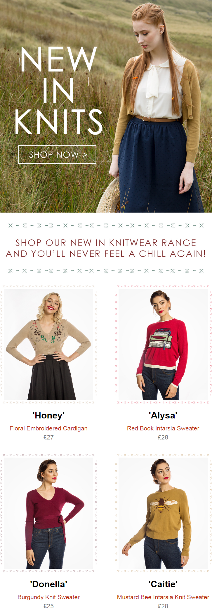 Made with soft, high quality stretch knits, there are a gorgeous assortment of colours and retro the...