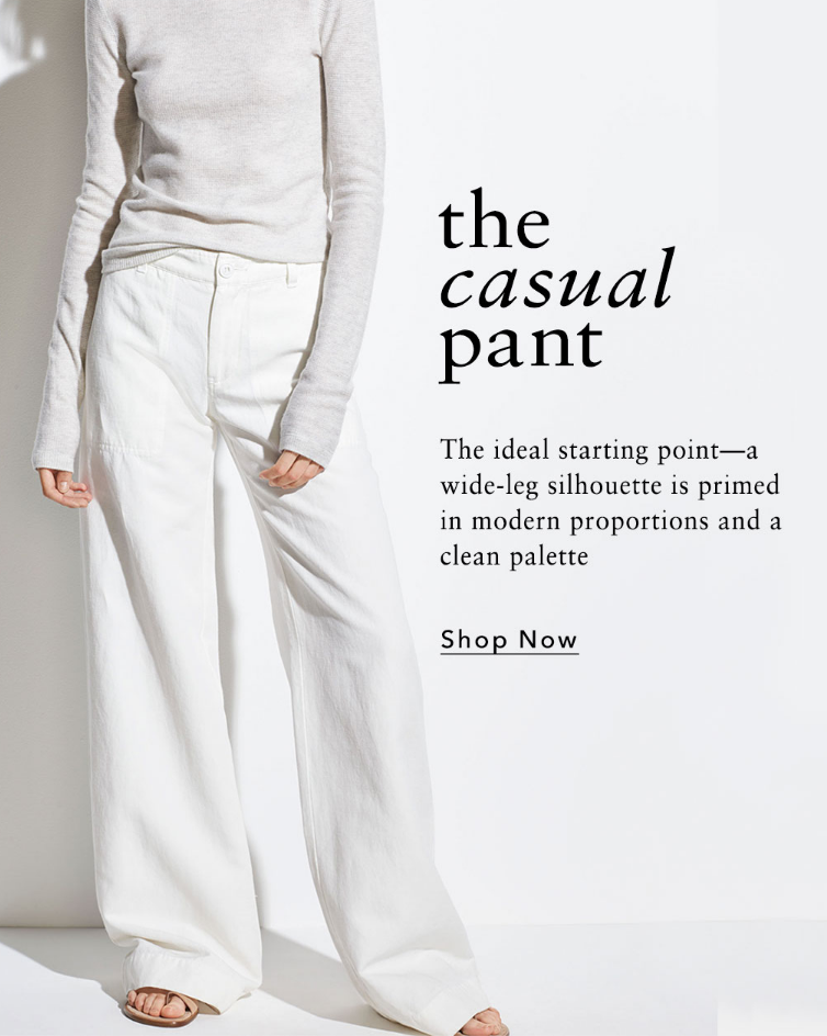 The ideal starting point-a wide-leg silhouette is primed in modern proportions and a clean palette.