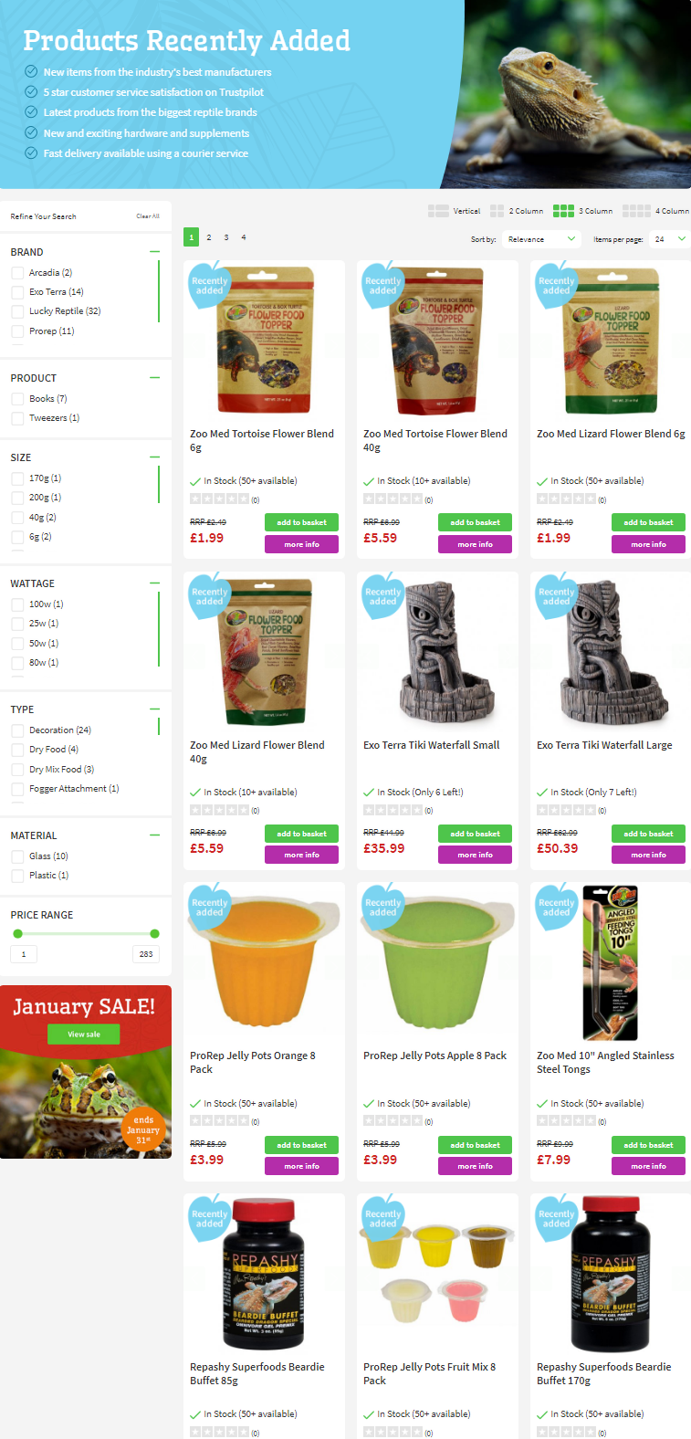 The new products include these from the biggest reptile brands in the UK including ProRep, Zoo Med, ...