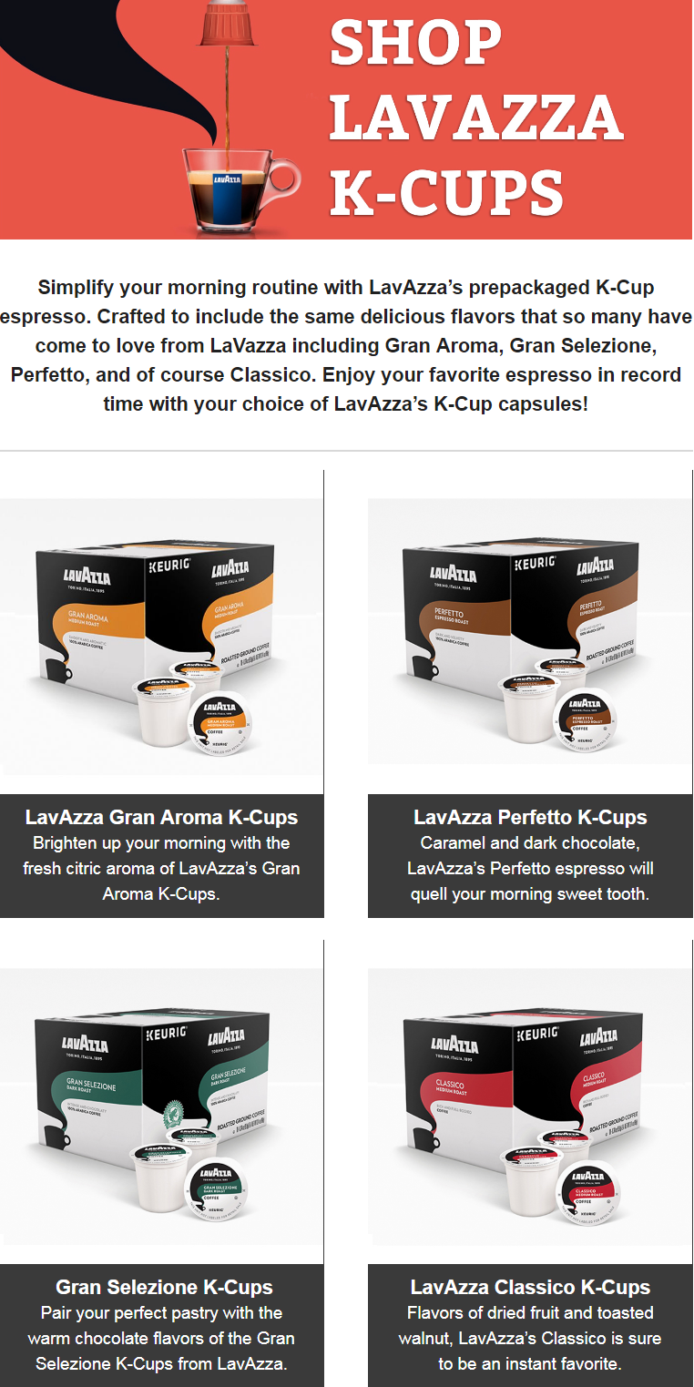 Prepared with the dedicated experience of premium Italian roasters, LavAzza's K-Cups feature an expa...