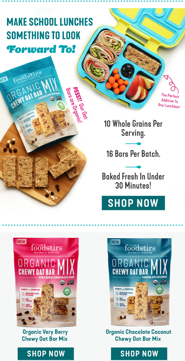 Your typical bar just got less typical! Foodstirs organic chewy oat bars are crowd-pleasing and perf...