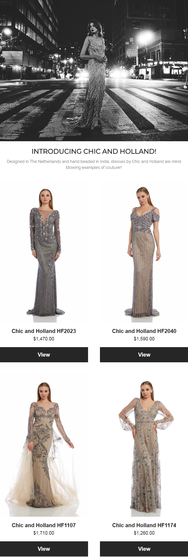 Designed in The Netherlands and hand beaded in India, dresses by Chic and Holland are mind blowing e...