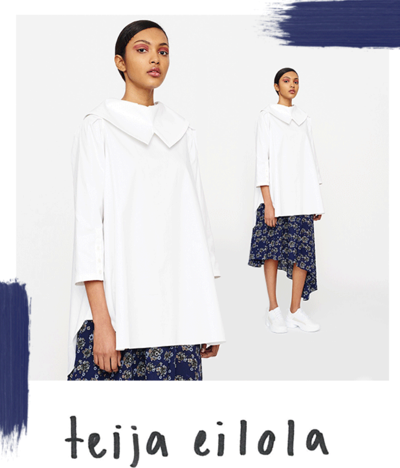 The TEIJA label has recognisable Finnish roots. Outerwear is strong & structured. Dresses and tops a...