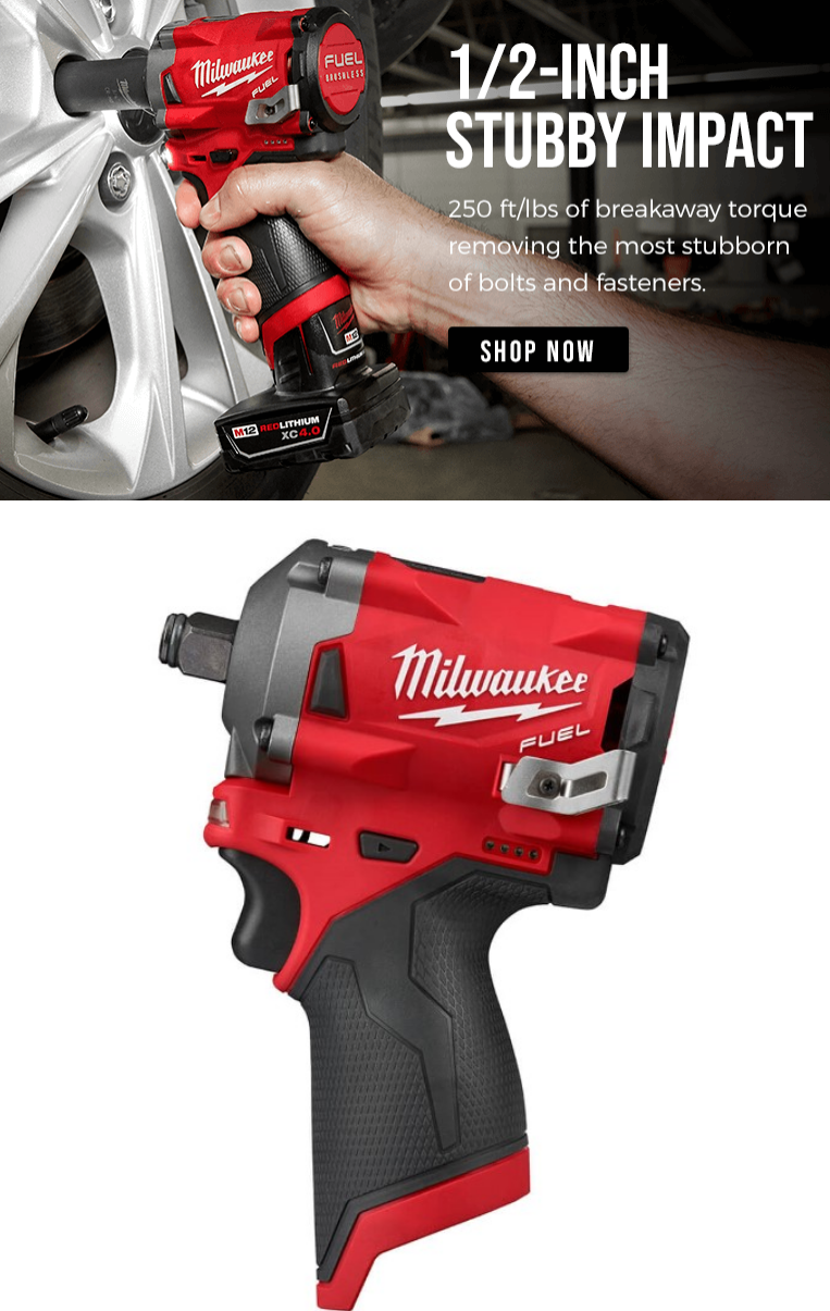 The M12 FUEL 1/2-Inch Stubby Impact Wrench is the industries most compact impact wrench on the marke...