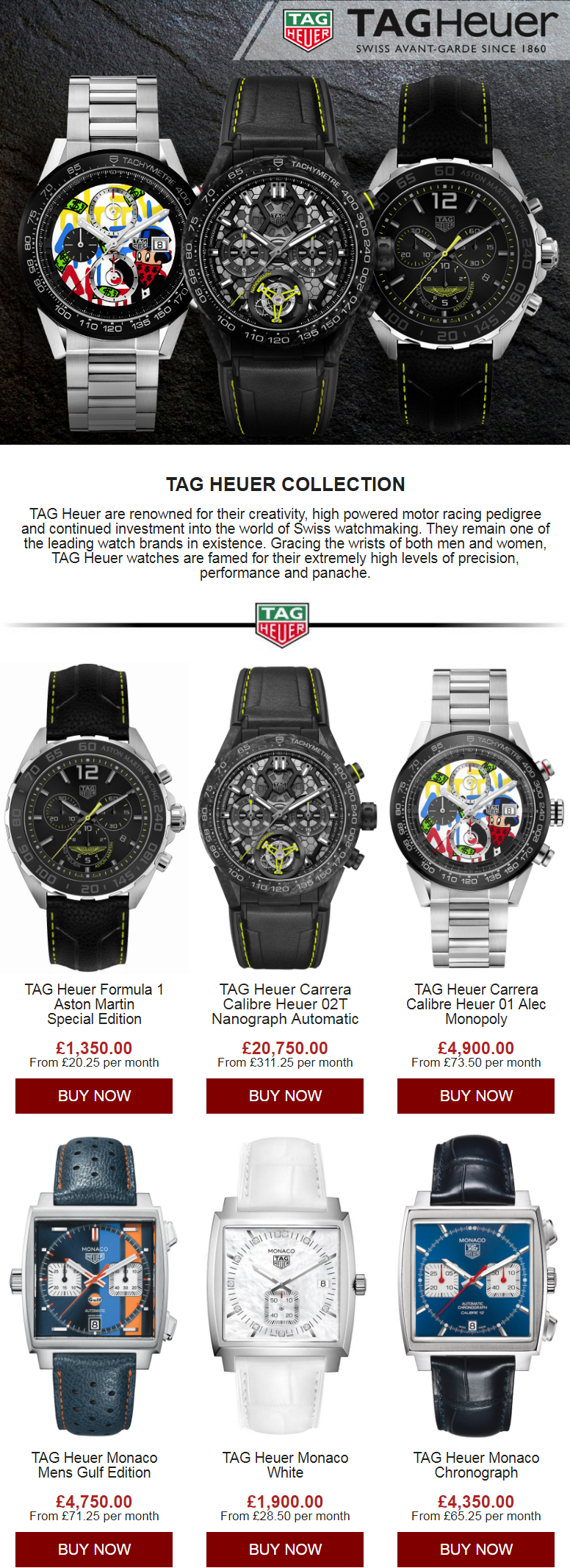 TAG Heuer are renowned for their creativity, high powered motor racing pedigree and continued invest...