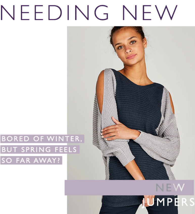 Sling on a chunky knit jumper for those slouch-on-the-sofa days, or wrap up in a boucle poncho jumpe...