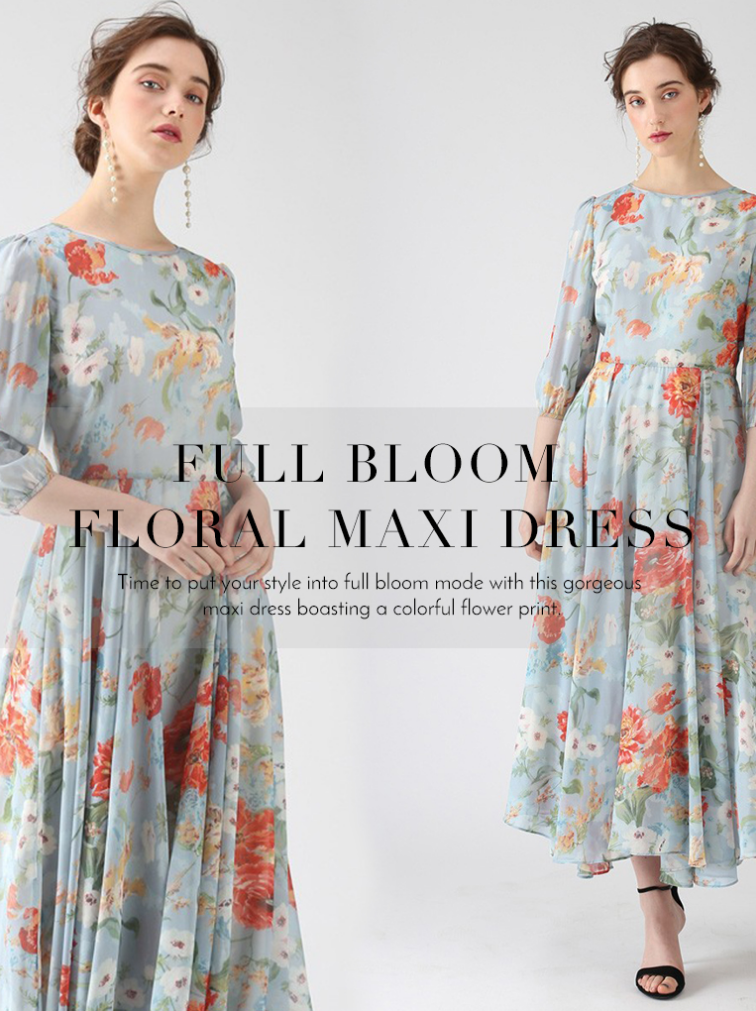 Time to put your style into full bloom made with this gorgeous maxi dress boasting a colorful flower...