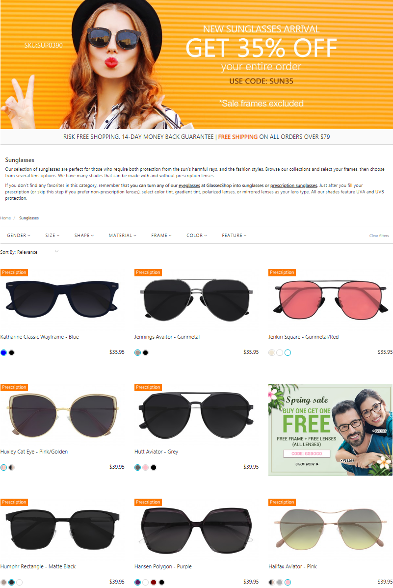 The selection of sunglasses are perfect for those who require both protection from the sun's harmf...