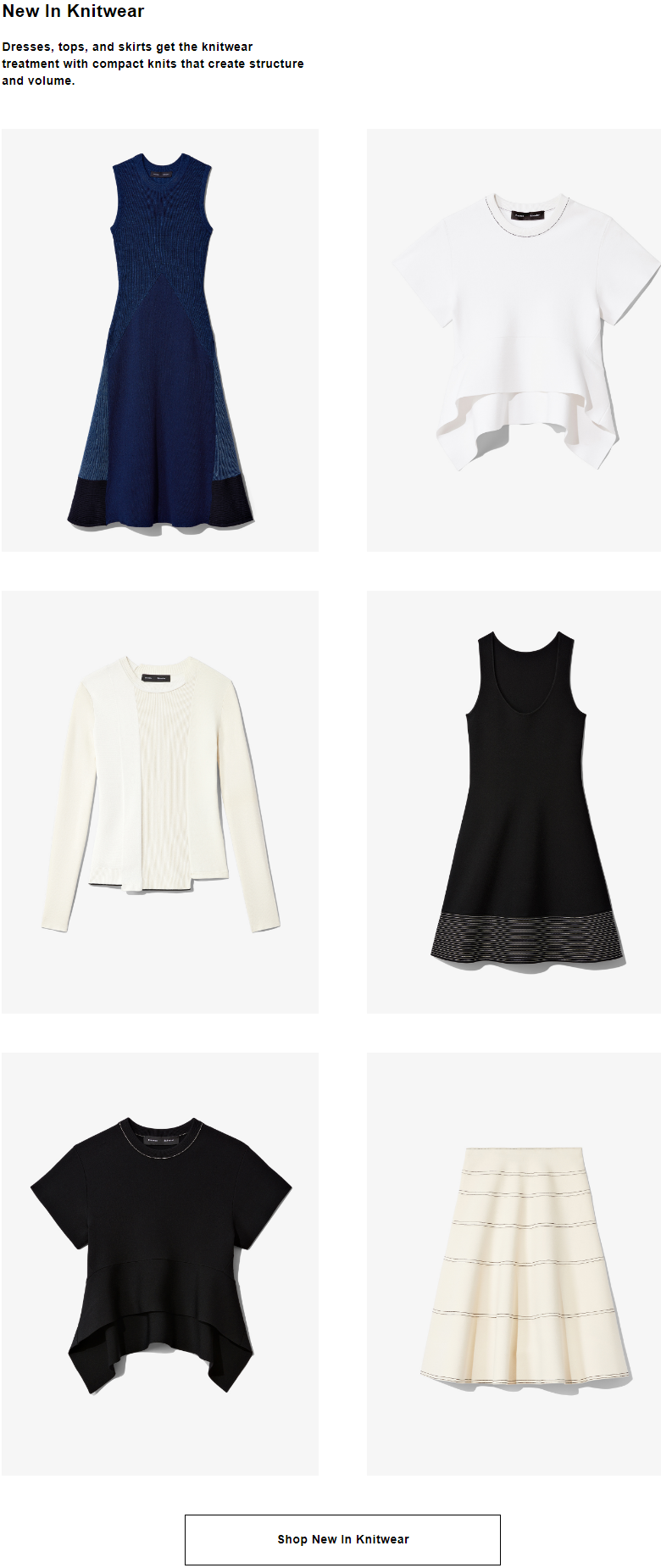 Dresses, tops, and skirts get the knitwear treatment with compact knits that create structure and vo...